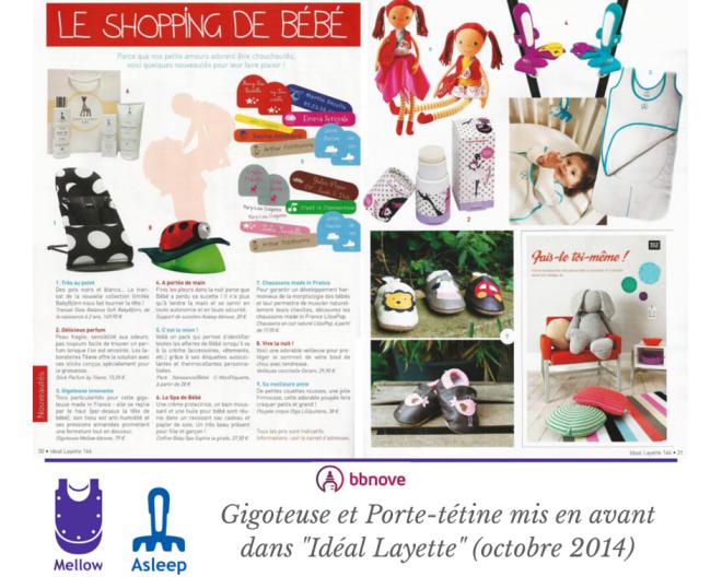 bbnove e-shop puériculture design - concept store made in france pour bébés La gigoteuse Mellow et le porte-tétine Asleep conseillés dans le guide achat Idéal Layette.